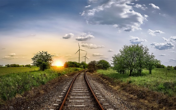 Wallpaper Windmill, railroad, trees, sunset, clouds