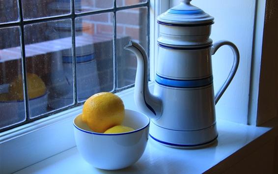 Wallpaper Windowsill, kettle, bowl, lemon