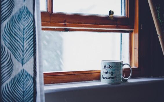 Fondos de pantalla Alféizar de la ventana, taza