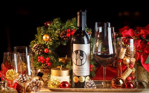 Wallpaper Wine, bottle, cups, Christmas decoration