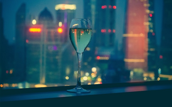 Wallpaper Wine, glass cup, night, city