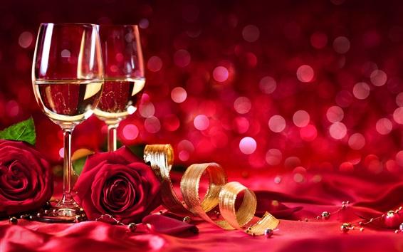 Fondos de pantalla Vino, rosas rojas, brillo, fondo rojo, romántico