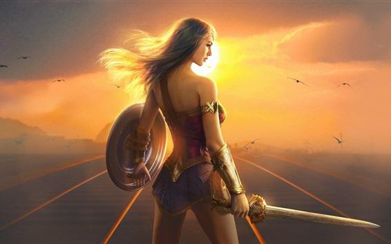 Wallpaper Wonder Woman, Gal Gadot, girl back view