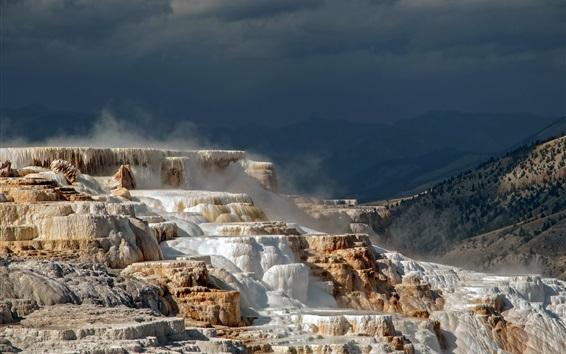 Papéis de Parede Parque nacional de Yellowstone, Wyoming, EUA, terraços, montanhas