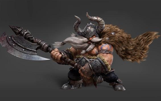 Papéis de Parede Imagem de arte 3D, Vikings, machado