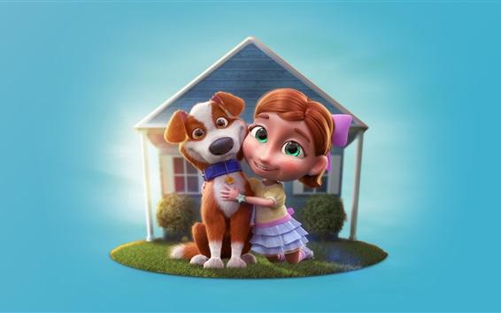 Wallpaper 3D cartoon, child girl and dog, house