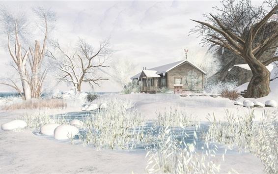 Wallpaper 3D design, winter, snow, trees, house