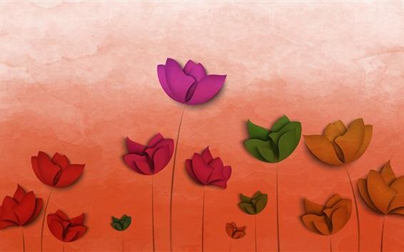 Papéis de Parede Flores de arte abstrata, vermelho, verde, laranja