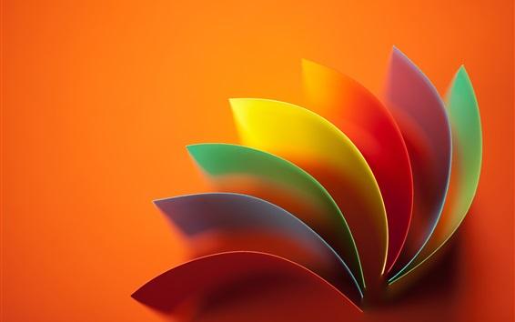 壁纸 抽象花,彩虹的颜色,橙色背景