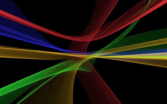 Wallpaper Abstract fractal lines, multicolor, black background