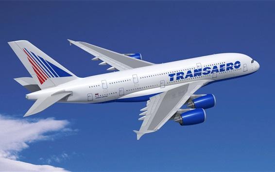 Wallpaper Airbus A380 plane flight, blue sky