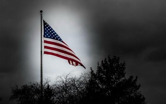 Wallpaper America flag, dusk