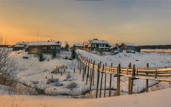 Wallpaper Arkhangelsk oblast, village, snow, houses, winter, Russia