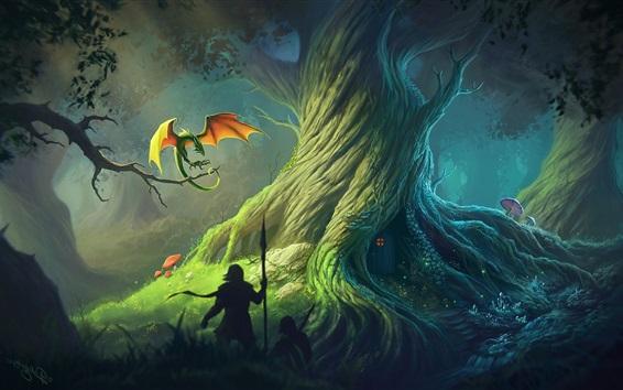 Обои Художественная фантазия, дракон, большое дерево, люди