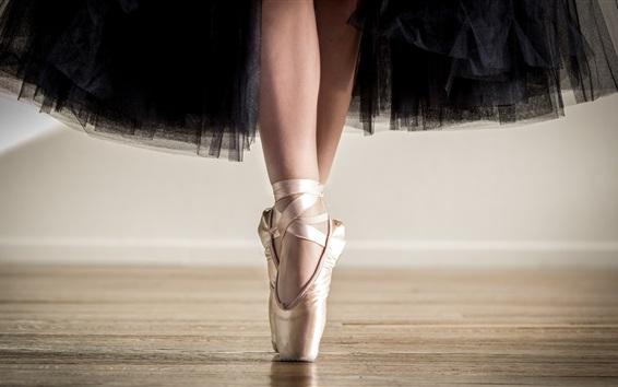 Wallpaper Ballerina, black skirt, shoes, feet, dancing