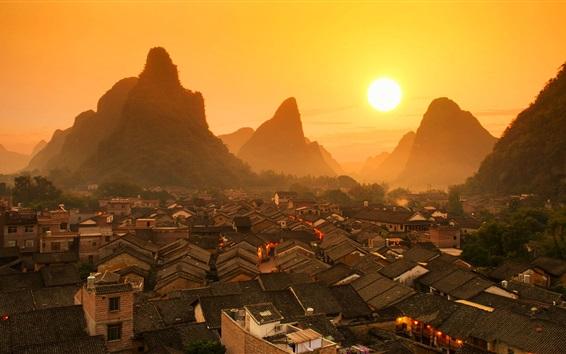 Papéis de Parede Paisagem chinesa bonita, Guilin, casas, montanhas, amanhecer