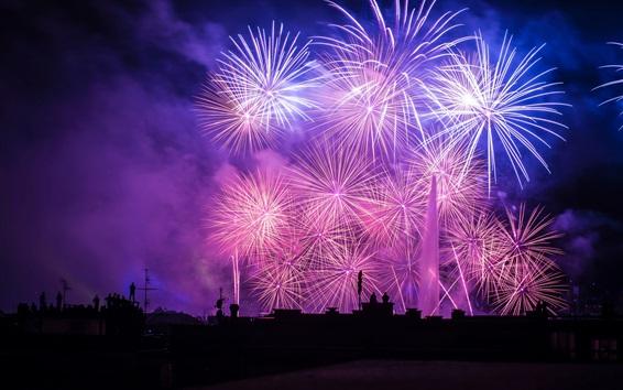 배경 화면 아름다운 불꽃 놀이, 밤, 도시