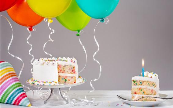 壁紙 誕生日のケーキ、ろうそく、風船、リボン