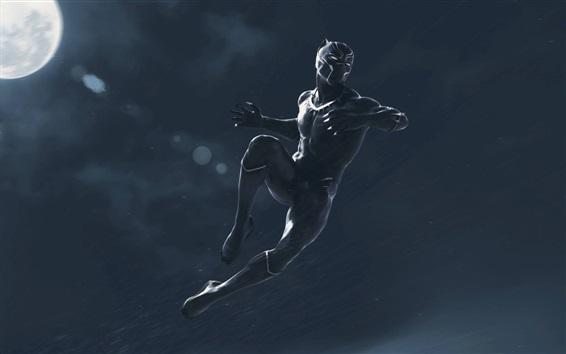 Wallpaper Black Panther, jump, rainy, art picture