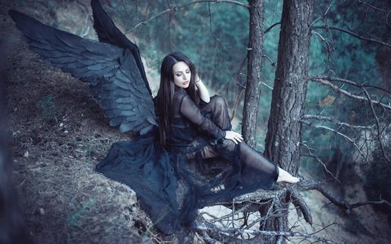 Fondos de pantalla Alas negras angel girl en el bosque