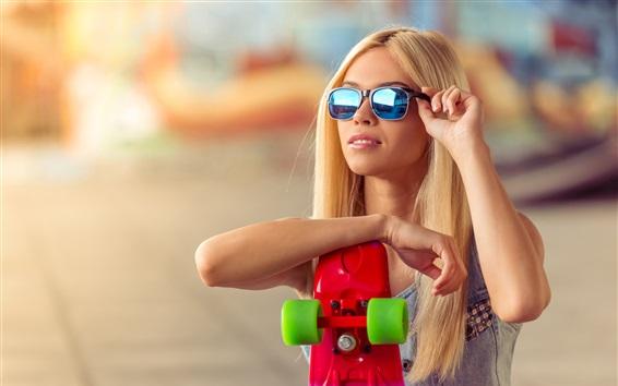 Wallpaper Blonde girl, sunglasses, skateboard