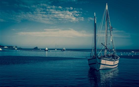 Wallpaper Boats, blue sea, dusk