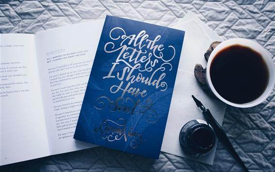 壁紙 本、コーヒー、ペン