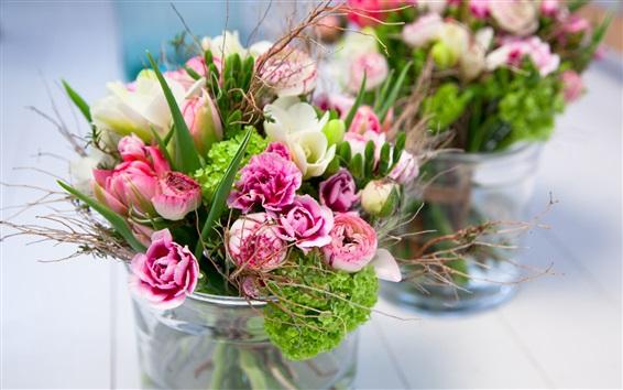 Обои Букет, цветы, ваза, размытие