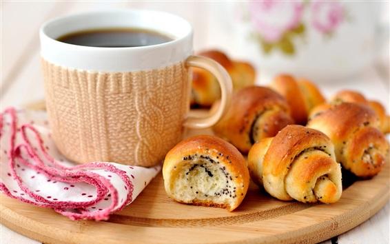 Papéis de Parede Pão, xícara, café