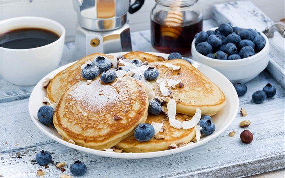 Wallpaper Breakfast, pancake, coffee, blueberries
