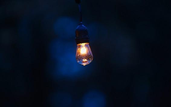Papéis de Parede Lâmpada brilhante, noite, gotas de água