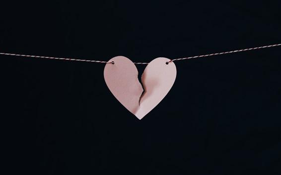 Papéis de Parede Coração de amor quebrado, papel, corda, noite