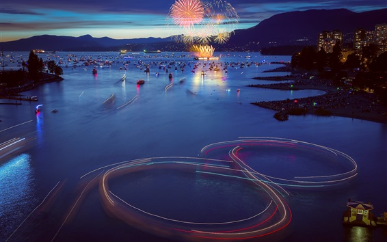 Wallpaper Canada, Vancouver, city evening, boats, bay, fireworks, lights