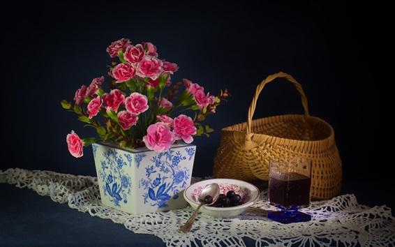 Papéis de Parede Cravo, flores rosa, cesta, vinho