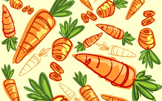 Wallpaper Carrots, vegetables, art drawing