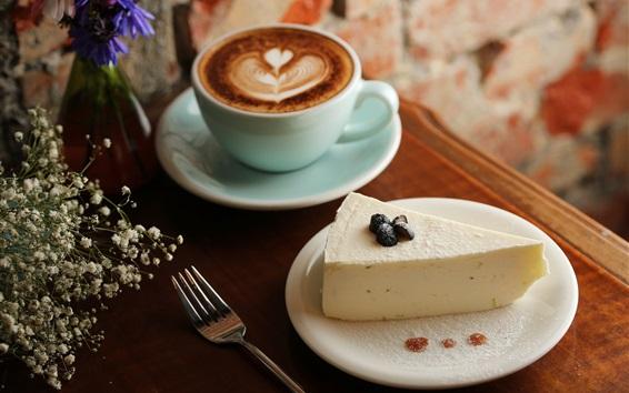 Обои Сыр и кофе, десерт