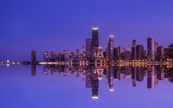 배경 화면 시카고, 물 반사, 고층 빌딩, 조명, 밤, 노스 미시간, 미국
