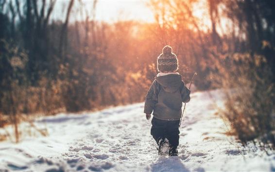 Wallpaper Child boy walk in the snow, winter, back view