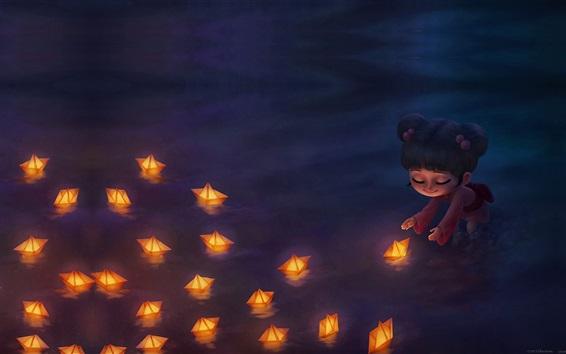 Papéis de Parede Criança garota e barco, rio, noite, imagem de arte