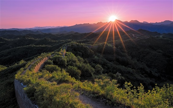 Wallpaper China, Hebei, Great Wall, mountains, trees, sunset