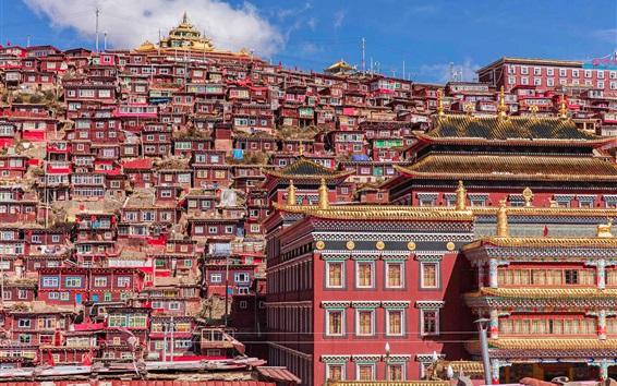 Fond d'écran Chine, Tibet, monastère, maisons