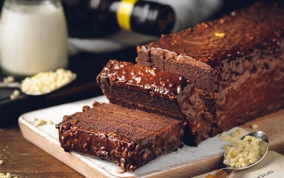 Fond d'écran Tranches de gâteau au chocolat, dessert