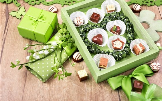 Fondos de pantalla Caramelos de chocolate, regalo, estilo verde