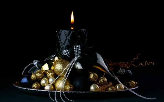 Wallpaper Christmas balls, candle, flame, black background