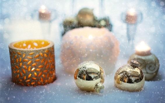 Wallpaper Christmas balls, candle, snow