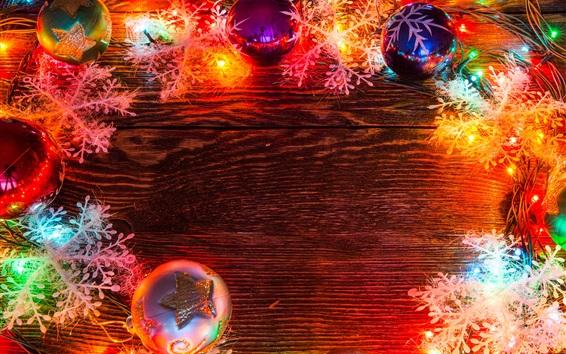Обои Рождественские шары, красочные праздничные огни