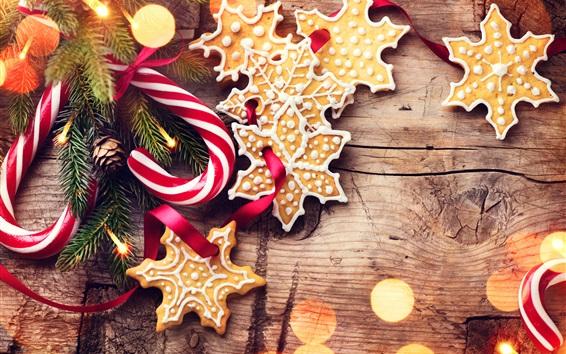 Fond d'écran Noël, cannes de bonbon, biscuits, brindilles d'épicéa