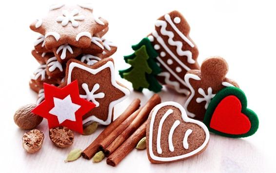 壁紙 クリスマス、シナモン、クッキー、ナッツ