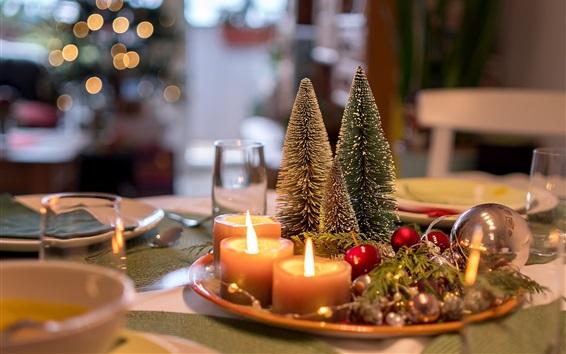 壁紙 クリスマスの装飾、木、キャンドル、火、ボケ