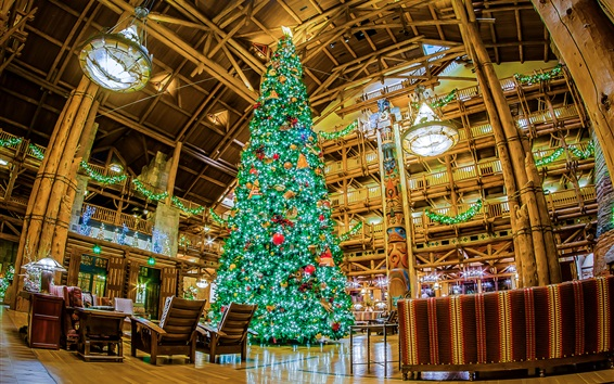 Wallpaper Christmas tree, interior, Disneyland